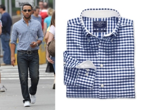 John Legend in Gingham -as seen on www.itsnotforgirls.com