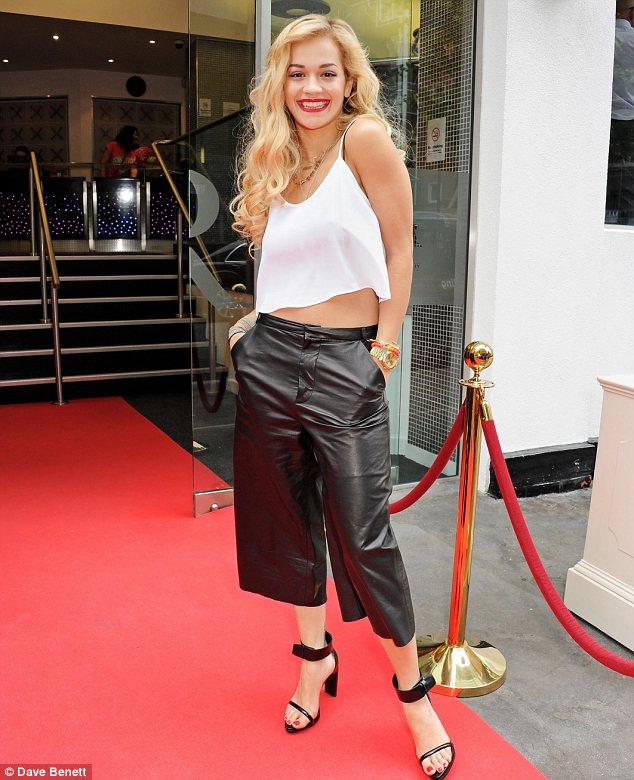 Rita Ora in LeatherCulottes