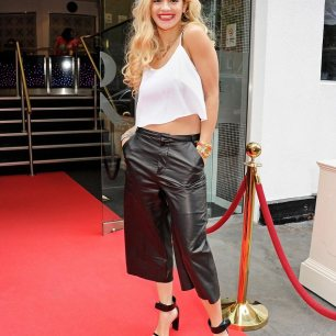 Rita Ora in Leather Culottes